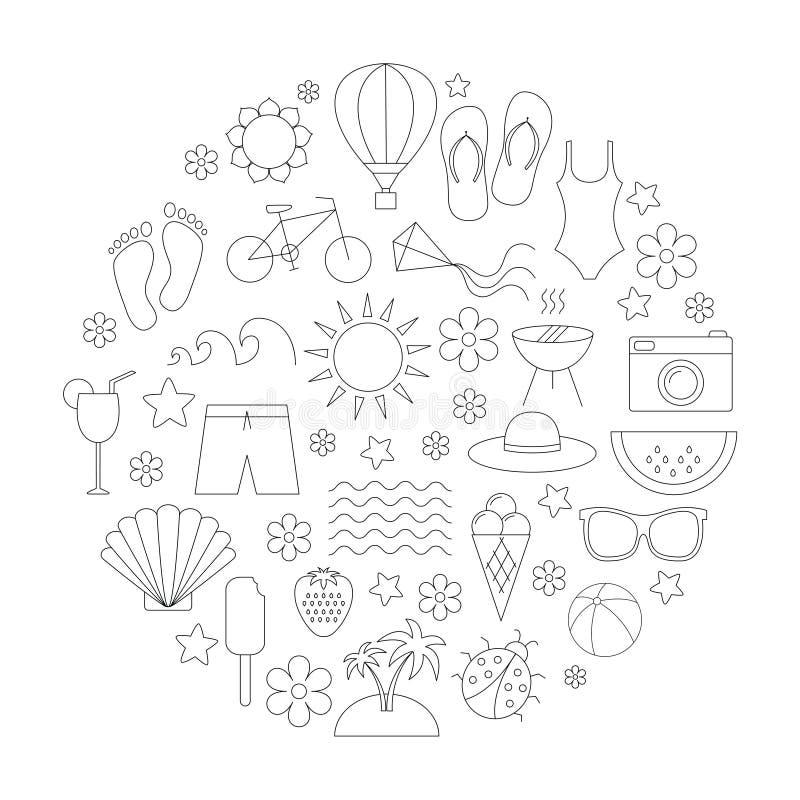 Iconos lineares del tiempo de verano fijados ilustración del vector