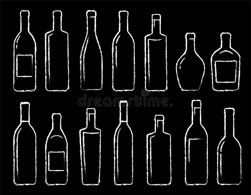 Iconos lineares dibujados mano de la botella de la tiza fijados libre illustration