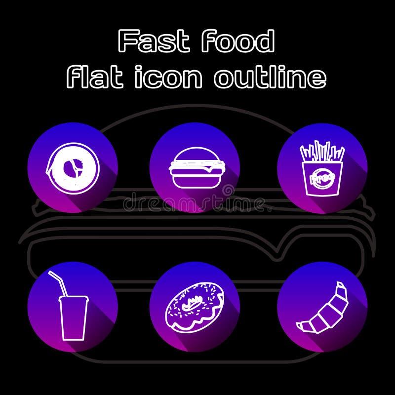 Iconos lineares planos de la comida fijados Alimentos de preparación rápida, pizzería, café y elementos del menú del restaurante  libre illustration