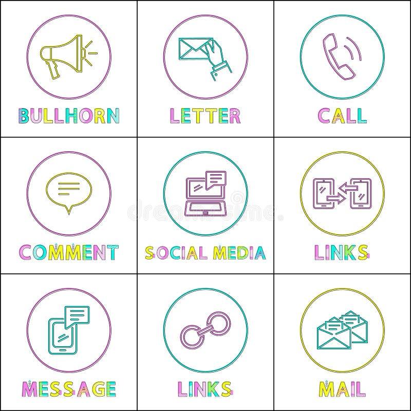 Iconos lineares redondos sociales de los medios y de Internet fijados ilustración del vector