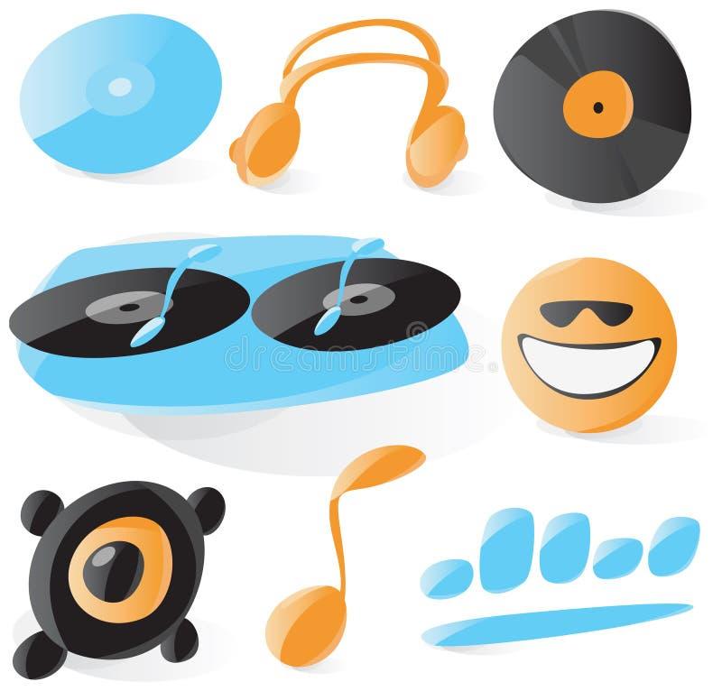 Iconos lisos de DJ ilustración del vector