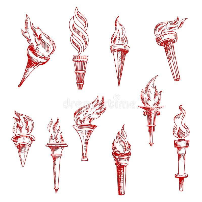 Iconos llameantes rojos del bosquejo de las antorchas stock de ilustración