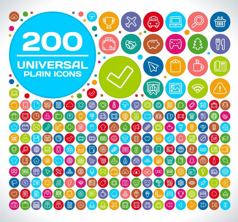 200 iconos llanos universales libre illustration