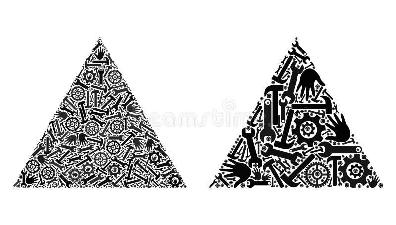 Iconos llenados collage del triángulo de las herramientas del servicio libre illustration