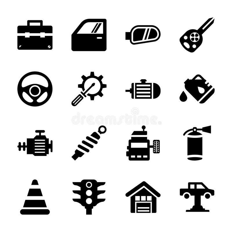 Iconos llenados de la reparación auto libre illustration