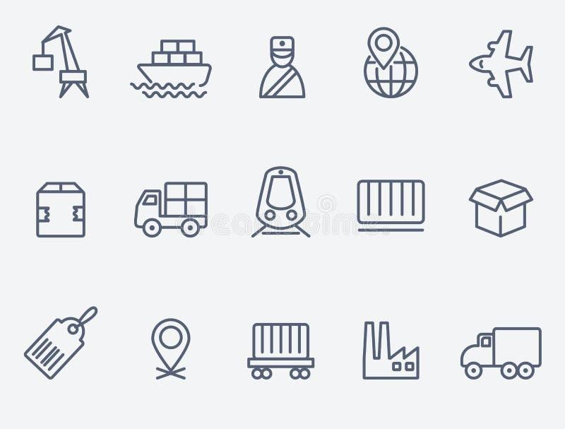 Iconos logísticos stock de ilustración