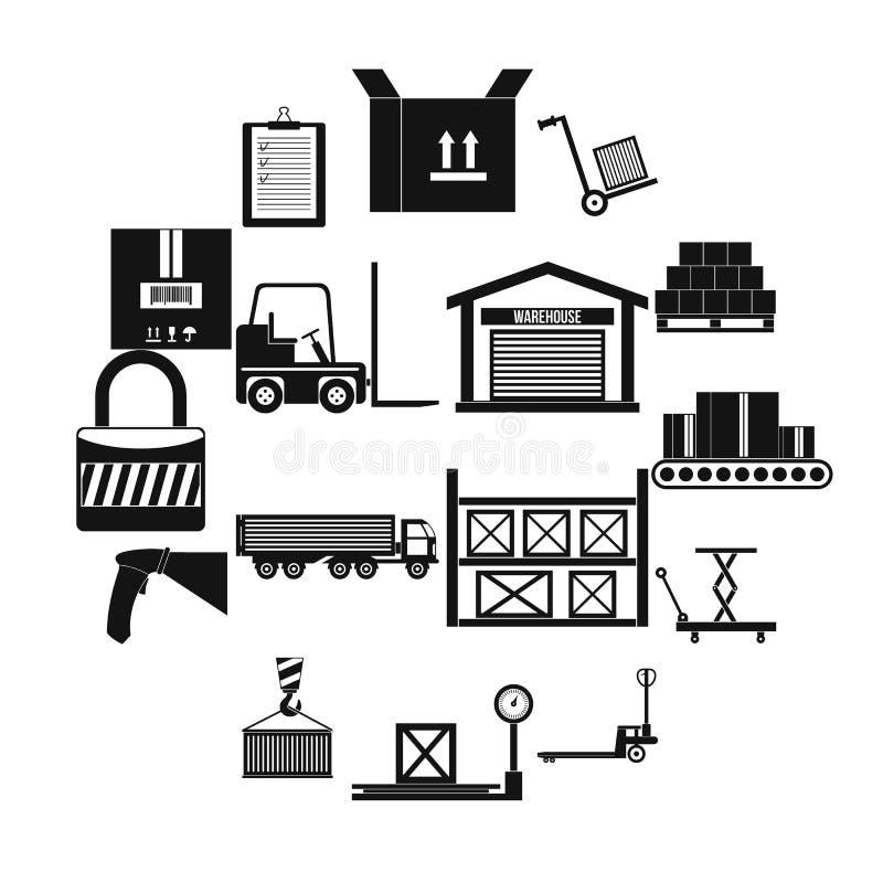 Iconos logísticos del almacenamiento de Warehouse fijados stock de ilustración