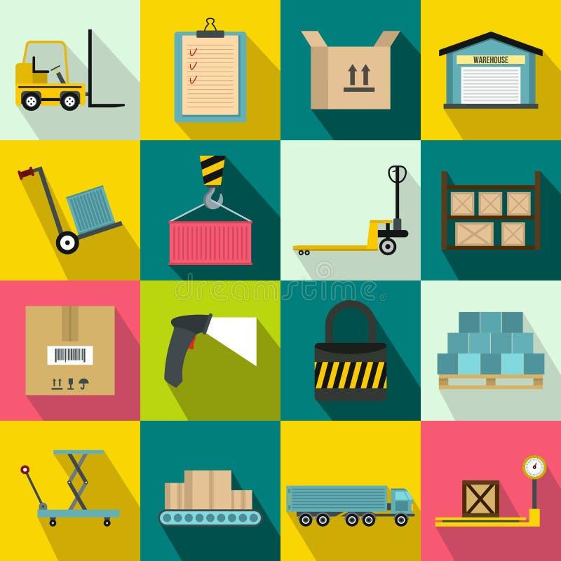 Iconos logísticos del almacenamiento de Warehouse fijados libre illustration