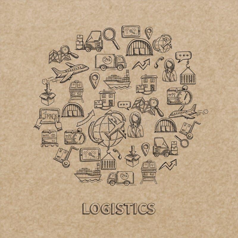 Iconos logísticos del bosquejo stock de ilustración