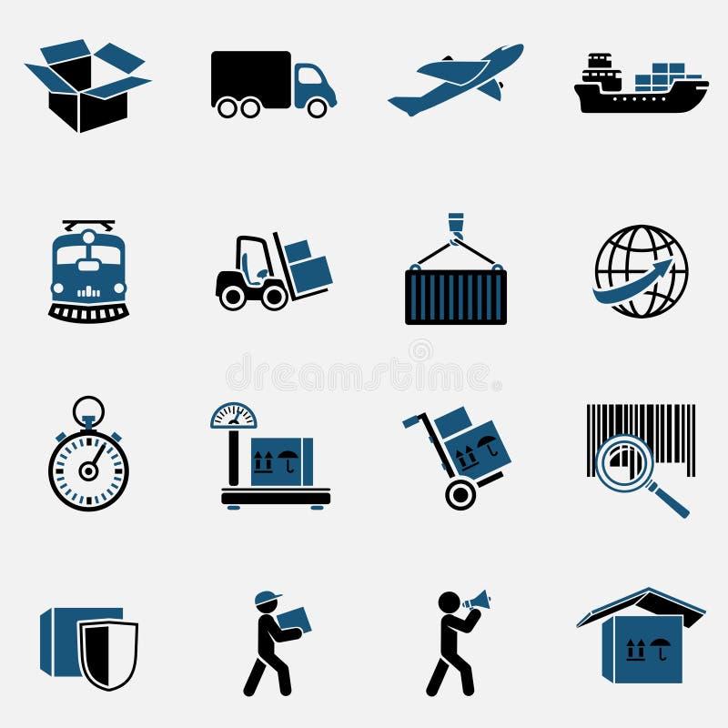 Iconos logísticos fijados stock de ilustración