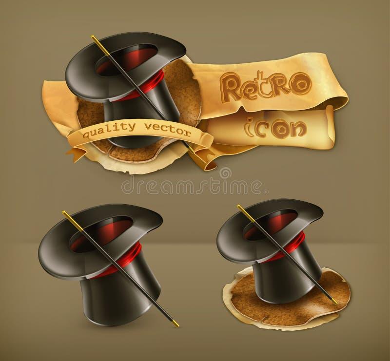 Iconos mágicos del sombrero del cilindro ilustración del vector