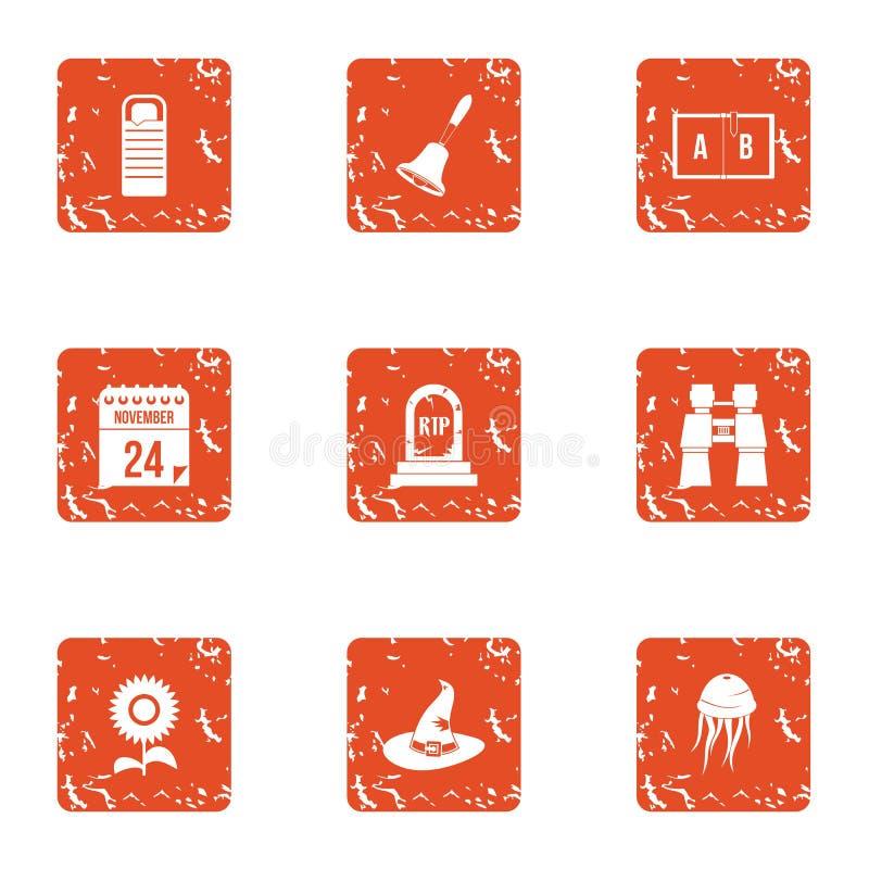 Iconos mágicos fijados, estilo del día del grunge stock de ilustración