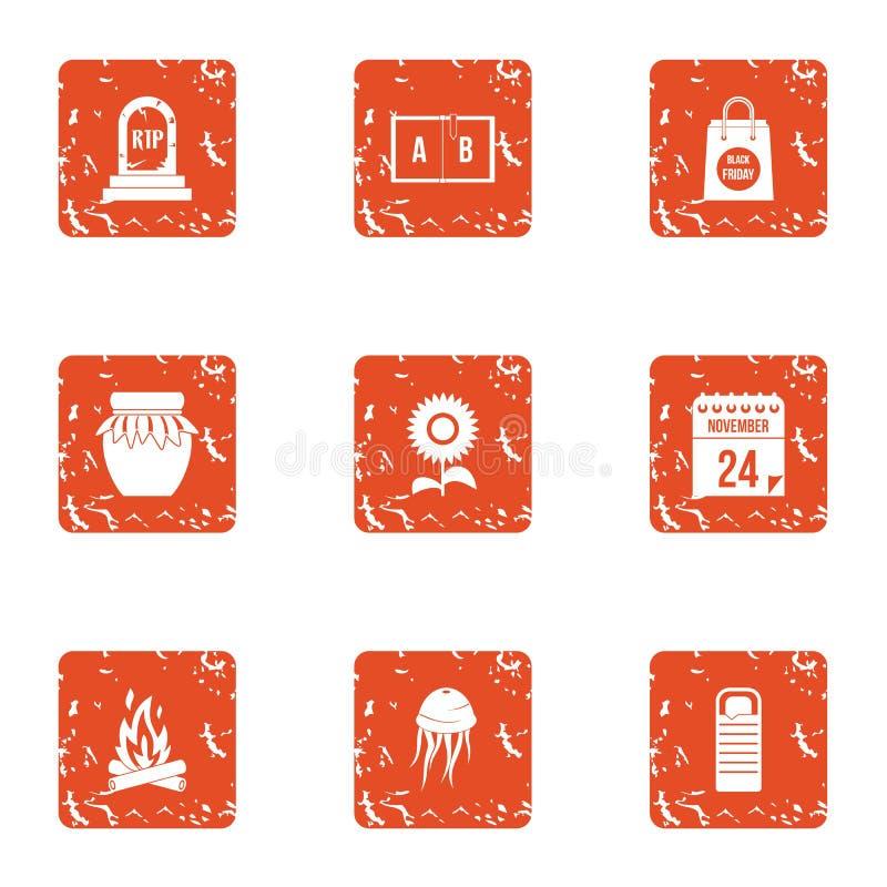 Iconos mágicos fijados, estilo del resto del grunge libre illustration