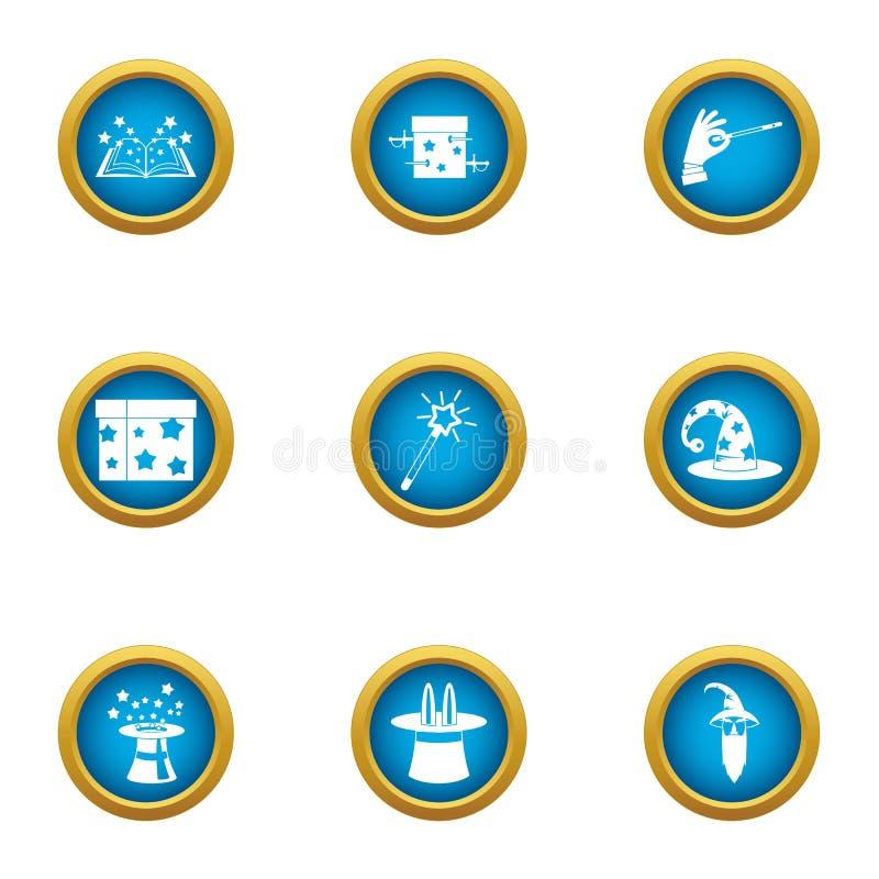 Iconos mágicos fijados, estilo plano del mundo stock de ilustración