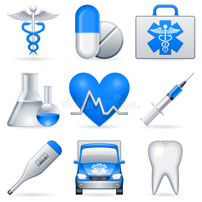 Iconos médicos. ilustración del vector
