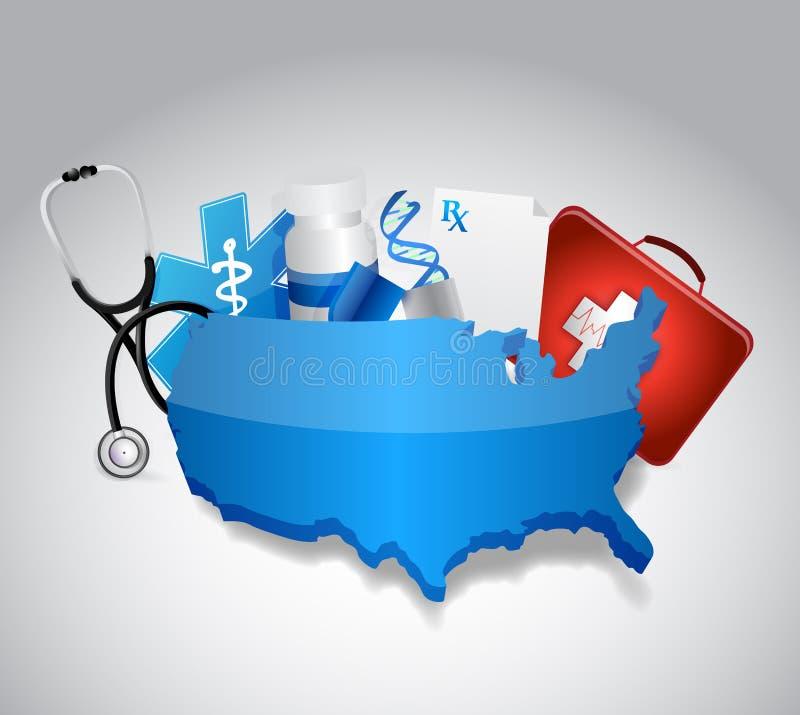 Iconos médicos alrededor del nosotros diseño del ejemplo del mapa stock de ilustración