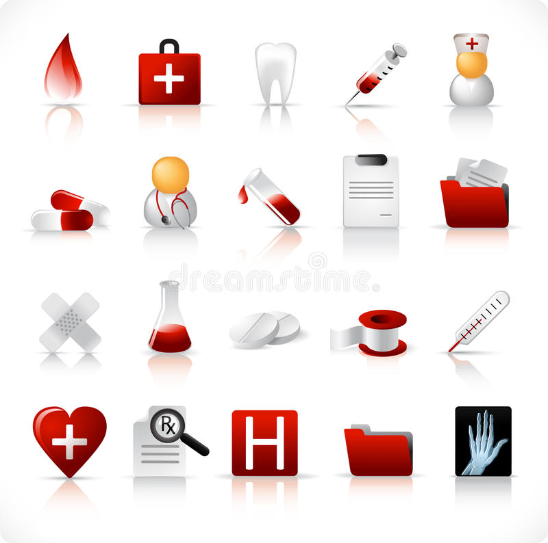 Iconos médicos/conjunto 1 ilustración del vector