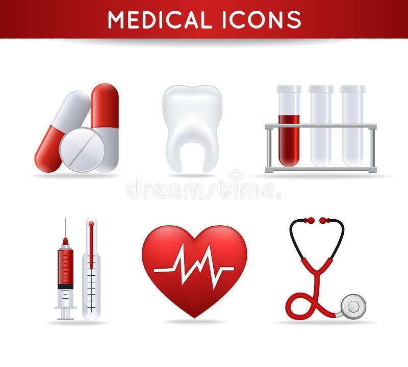 Iconos médicos de la atención sanitaria fijados stock de ilustración