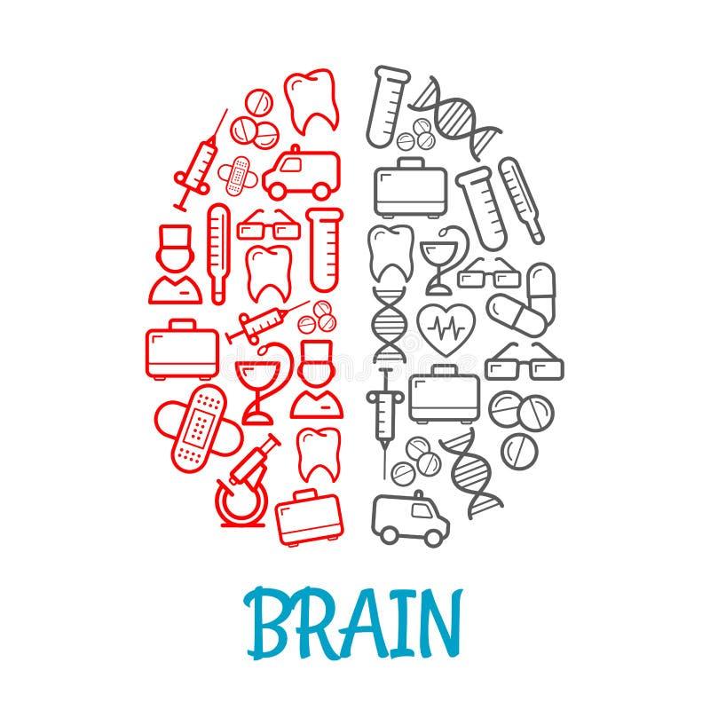 Iconos médicos del bosquejo formados como símbolo del cerebro humano ilustración del vector