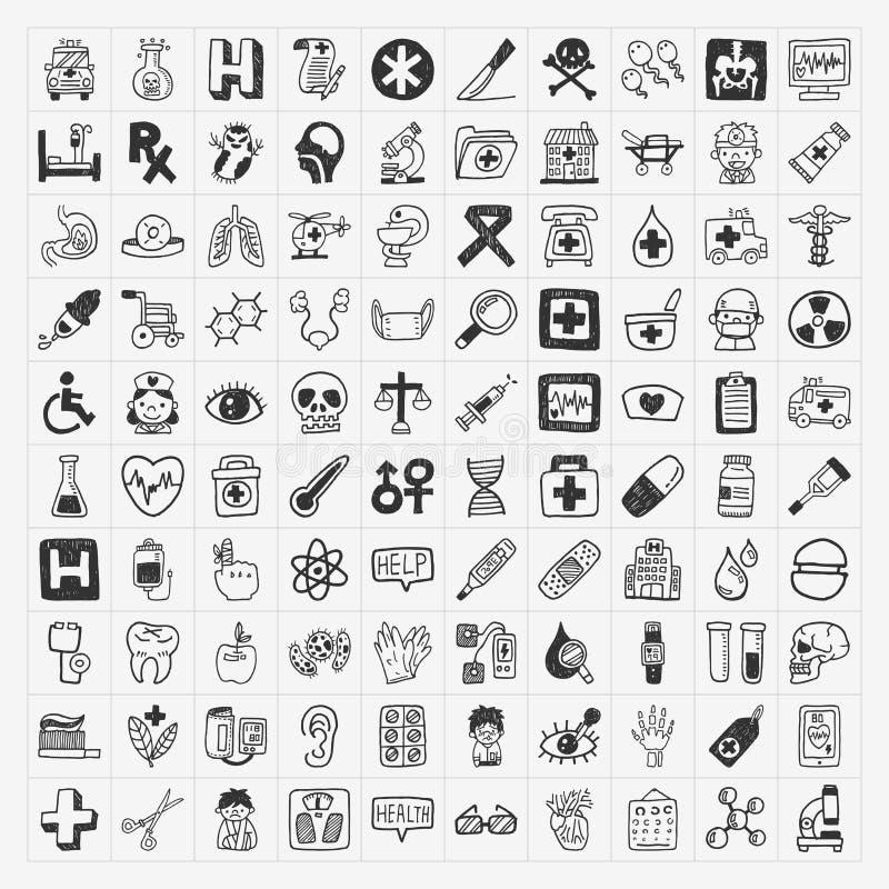 100 iconos médicos del garabato fijados libre illustration