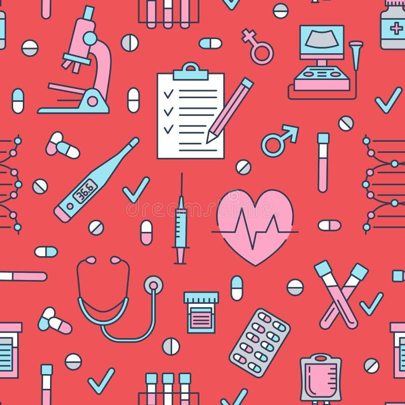 Iconos médicos del modelo inconsútil, ejemplo del vector de la clínica La línea fina del hospital firma - el termómetro, control  libre illustration