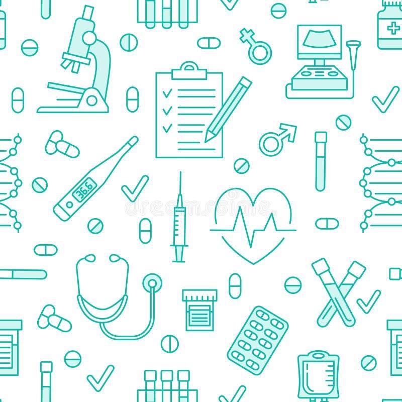 Iconos médicos del modelo inconsútil, ejemplo del vector de la clínica La línea fina del hospital firma - el termómetro, control  ilustración del vector