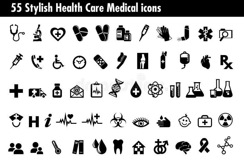 55 iconos médicos elegantes de la atención sanitaria fijaron, los símbolos referentes a pha libre illustration