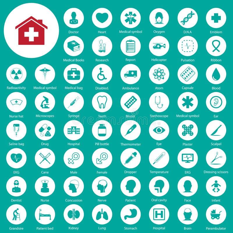 Iconos médicos fijados stock de ilustración
