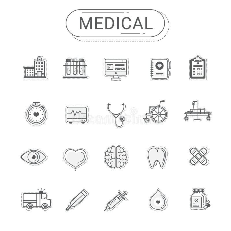 Iconos médicos fijados La línea plana estilo de la atención sanitaria del icono crea cerca El sistema se puede utilizar para el s ilustración del vector