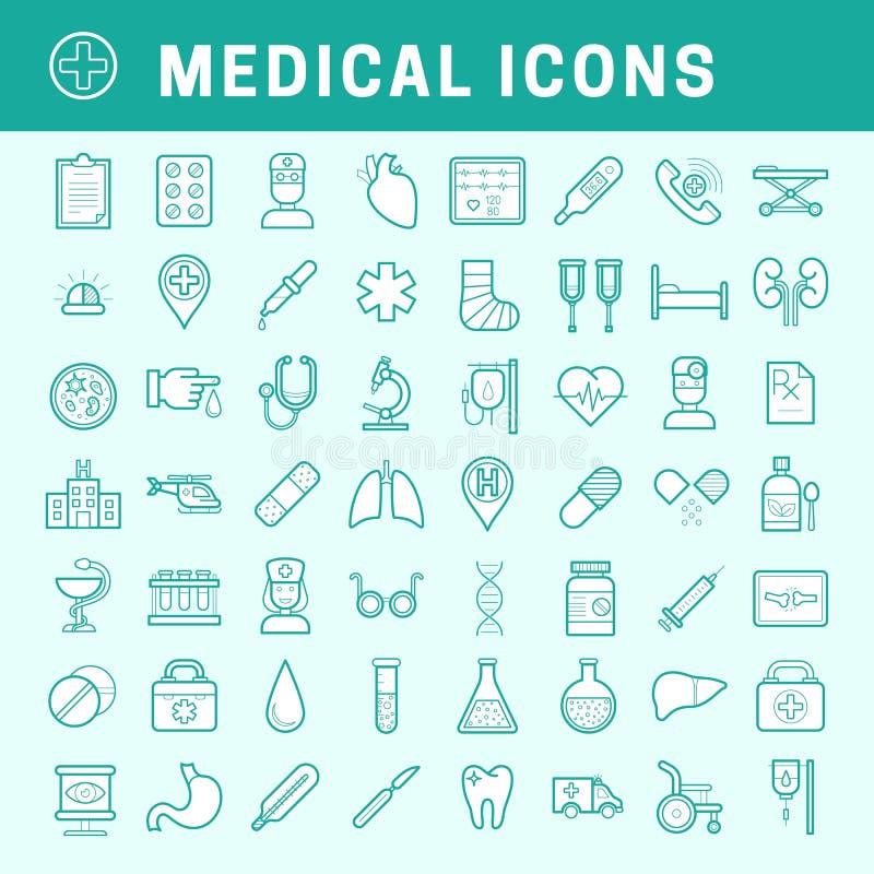 Iconos médicos lineares con el terraplén libre illustration