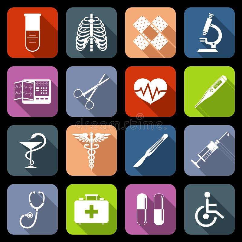 Iconos médicos planos ilustración del vector