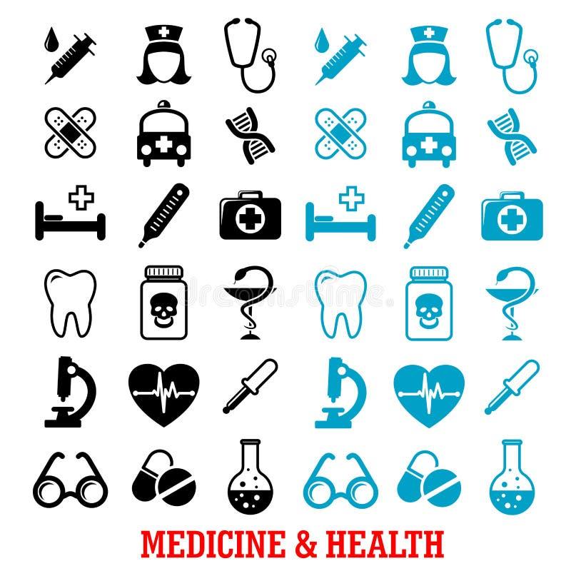 Iconos médicos planos negros y azules fijados stock de ilustración