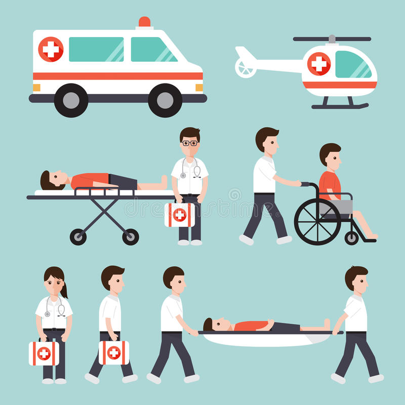 Iconos médicos y del hospital stock de ilustración