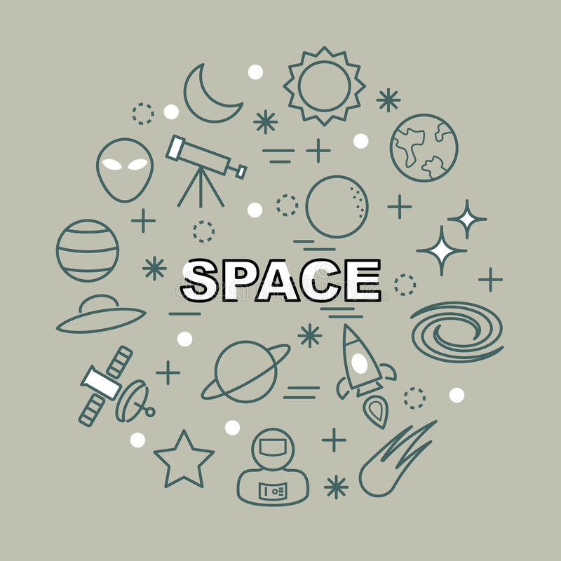 Iconos mínimos del esquema del espacio ilustración del vector