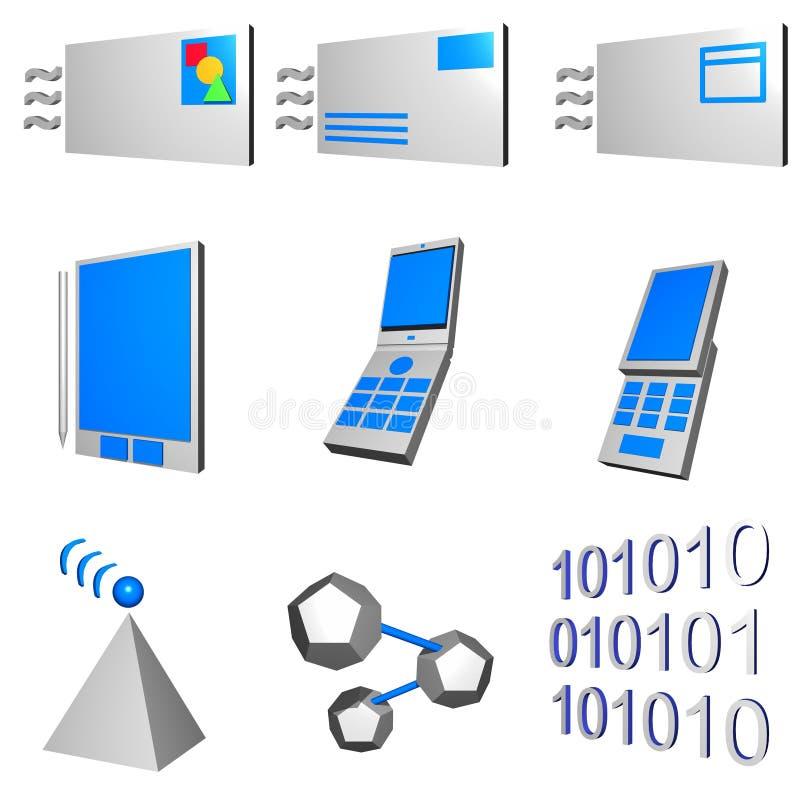 Iconos móviles de la industria de las telecomunicaciones fijados - Gra ilustración del vector