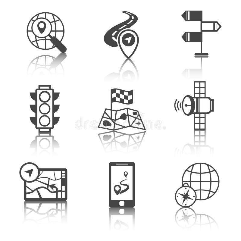 Iconos móviles de la navegación blancos y negros ilustración del vector