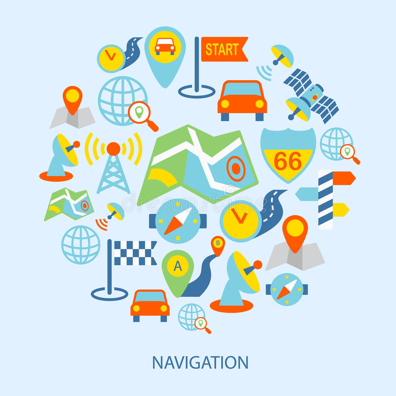 Iconos móviles de la navegación planos stock de ilustración