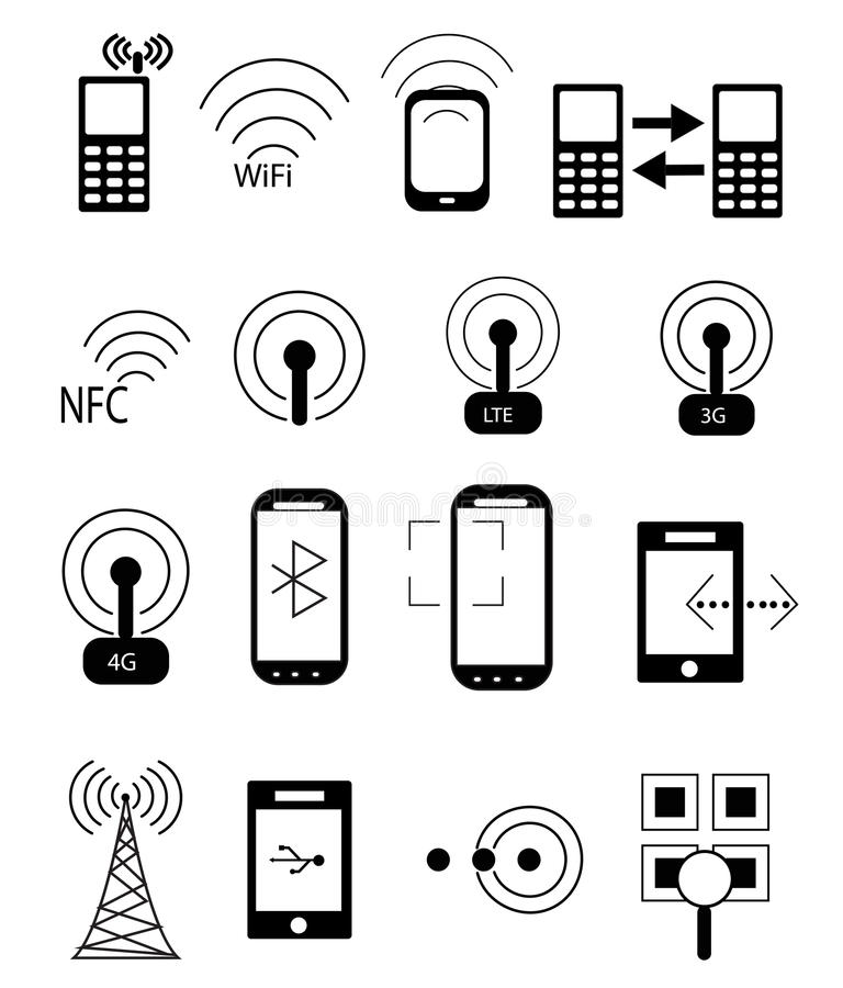 Iconos móviles de la red ilustración del vector