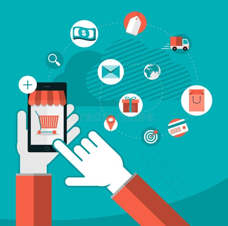 Iconos móviles del app ilustración del vector
