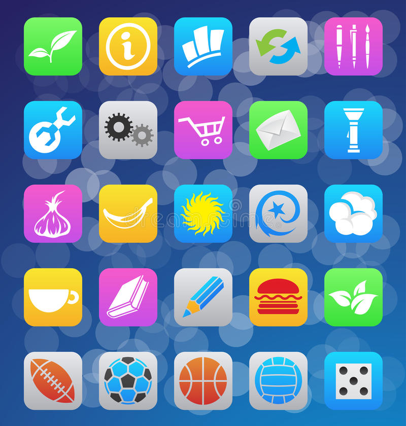 Iconos móviles del app del diverso estilo del IOS 7 stock de ilustración
