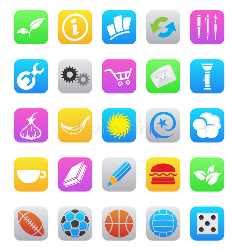 Iconos móviles del app del diverso estilo del IOS 7 aislados en a ilustración del vector