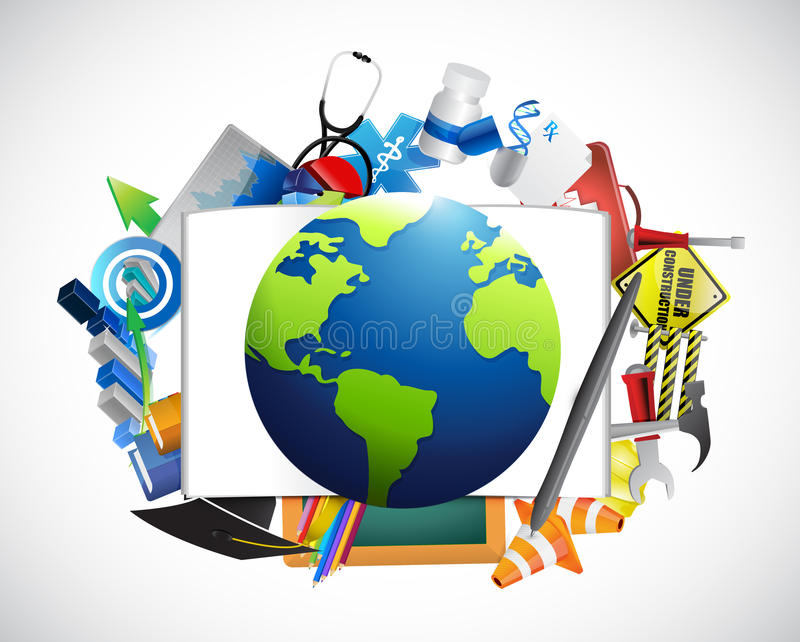 Iconos múltiples alrededor de un globo Diseño de la ilustración libre illustration