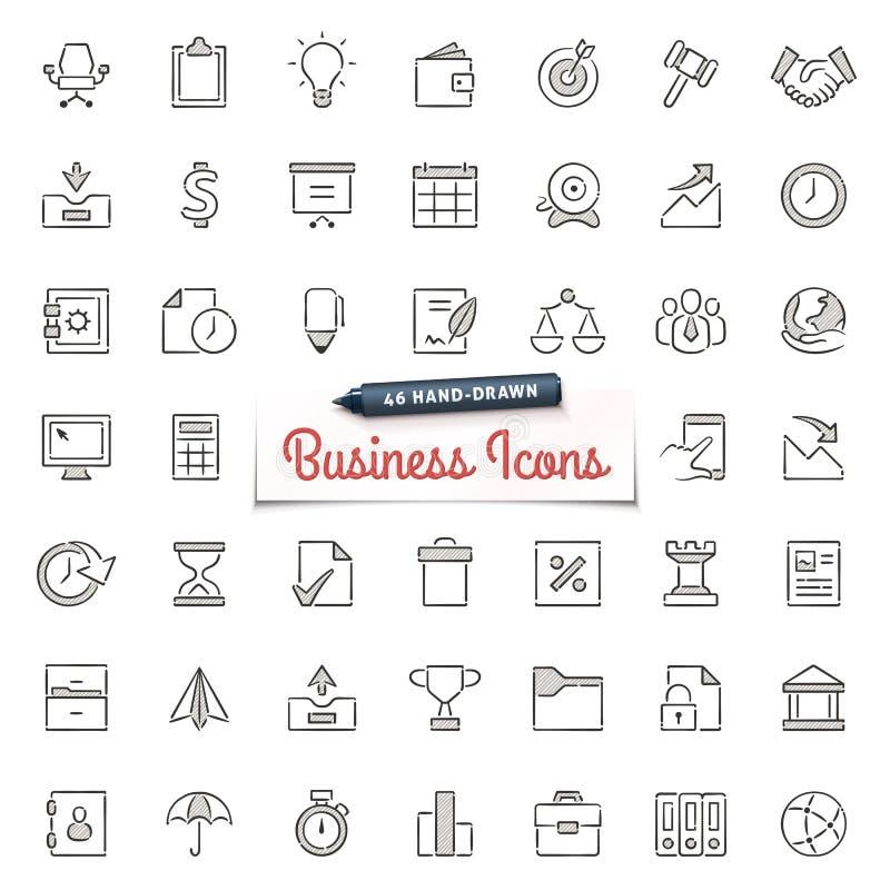 Iconos a mano del negocio stock de ilustración