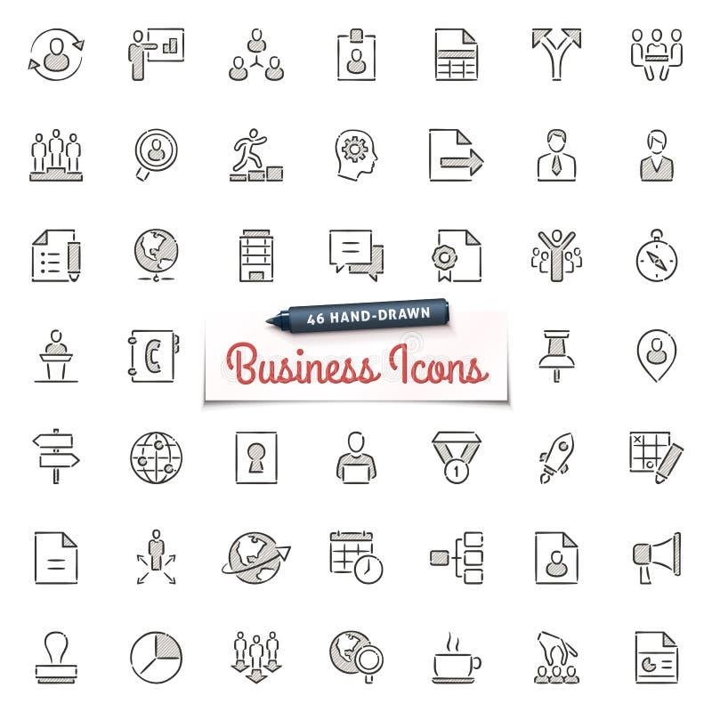 Iconos a mano del negocio ilustración del vector