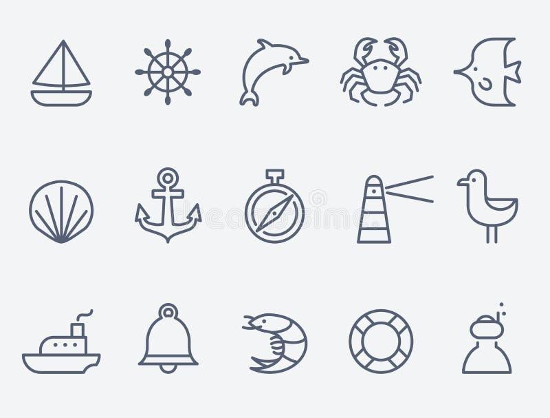 Iconos marinos ilustración del vector