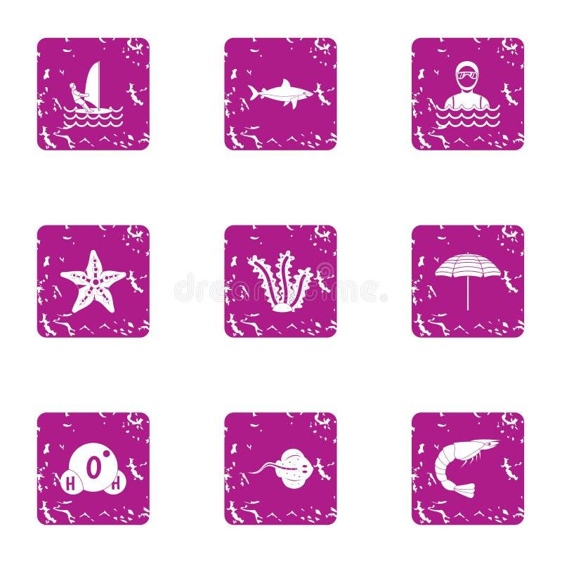 Iconos marinos fijados, estilo de la reserva del grunge libre illustration