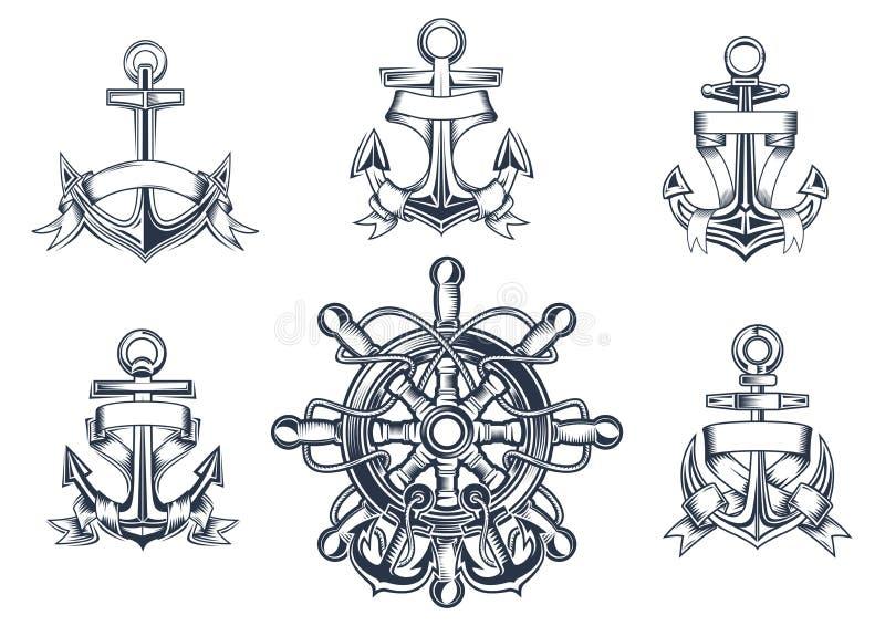 Iconos marinos y náuticos del vintage ilustración del vector