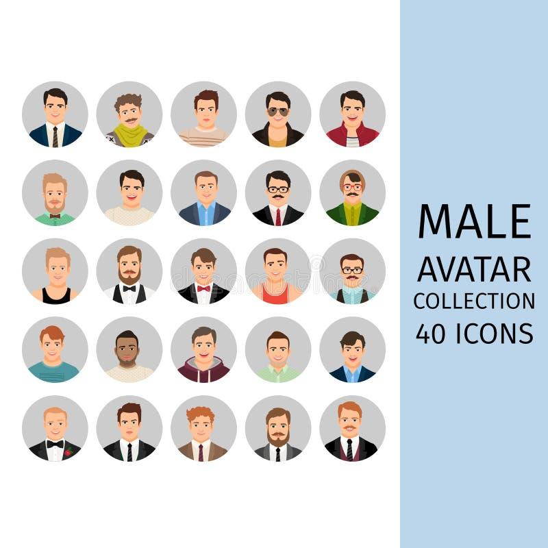 Iconos masculinos de la colección del avatar fijados ilustración del vector