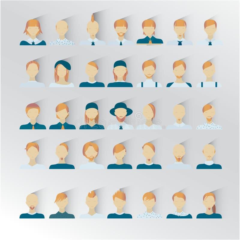 35 iconos masculinos para el intarfase del usuario, color del pelo rubio ilustración del vector