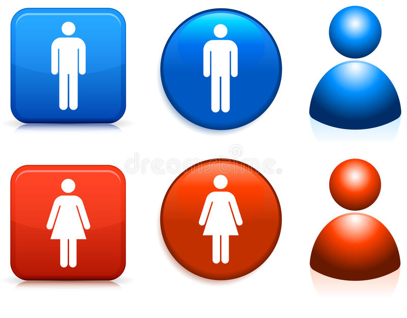 Iconos masculinos y femeninos stock de ilustración